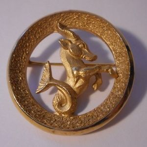 Vintage Trifari Zodiac Capricorn Pin Brooch